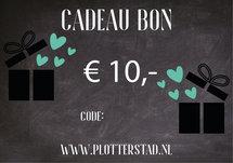 Cadeau bon €10,-