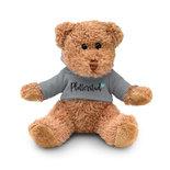 Teddy met hoodie grijs