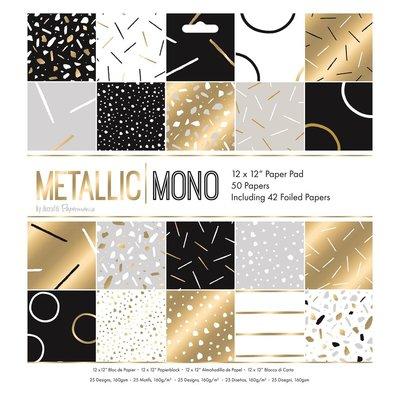 Metallic Mono 12x12 Inch Paper Pad