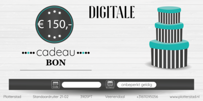 Digitale Cadeaubon t.w.v. € 150,-