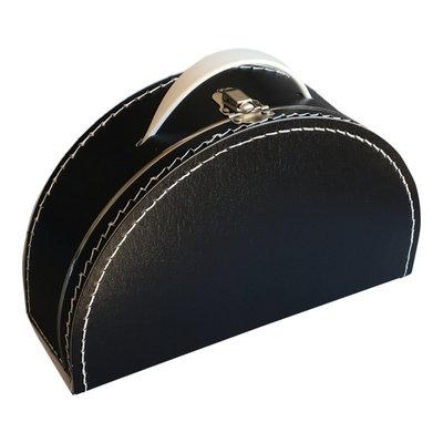 28cm koffertje half rond zwart