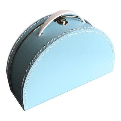 28cm koffertje half rond baby blauw