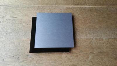 Naambord vierkant zwart RVS look