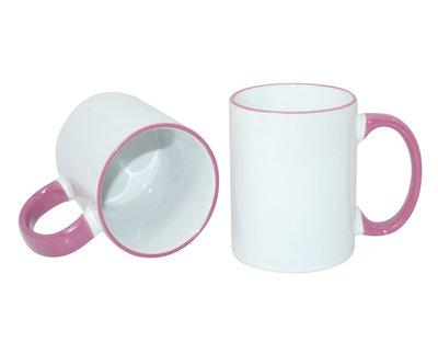 Sublimatie mok wit met roze randje/oor