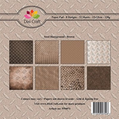 15x15cm Paper Pad Steel Background Brown
